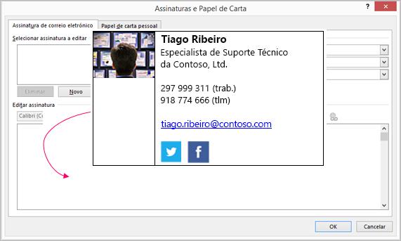 Colar um bloco de assinatura personalizado na caixa de texto de assinatura de e-mail na caixa de diálogo Assinaturas e Papel de Carta