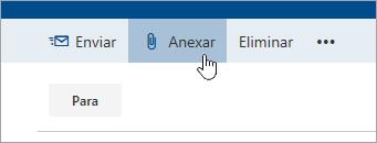Captura de ecrã do botão Anexar.
