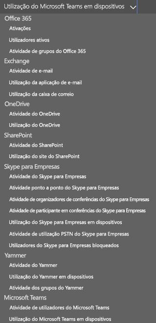 Selecione um relatório – atividade do utilizador no Microsoft Teams.
