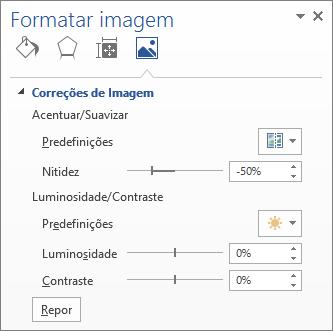 Opções de correções de imagem no painel de tarefas Formatar imagem