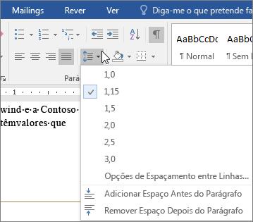 As opções Espaçamento Entre Linhas e Espaçamento Entre Parágrafos são mostradas no separador Base.