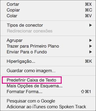 Opções do menu depois de manter a tecla Controlo premida e clicar numa linha