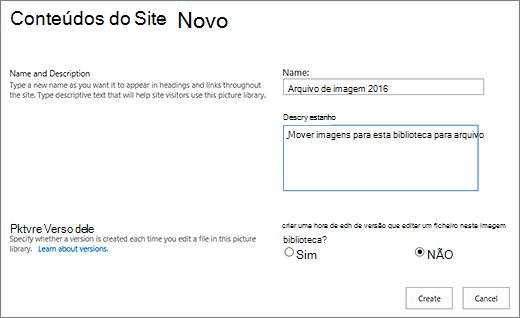 Colocar em nome, descrição e controlo de versões opcional