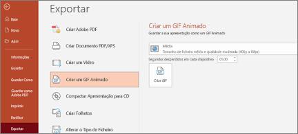 Ficheiro > Exportar página com a opção Criar um GIF Animado realçada