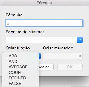 Na caixa Fórmula, selecione a função a partir da lista de funções Colar