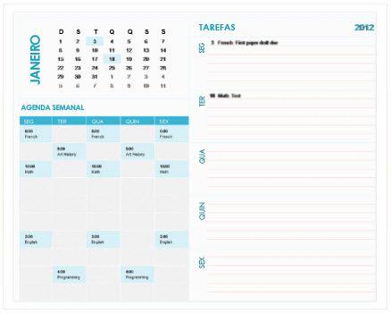 Modelo de Calendário de Planeamento Semanal Escolar (Excel)