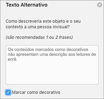 Caixa de verificação Marcar como Decorativo selecionada no painel Texto Alternativo do Word para Mac.
