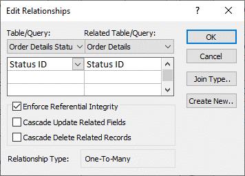 Caixa de diálogo Editar Relações