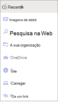 Imagem das opções de selecionador de ficheiros.