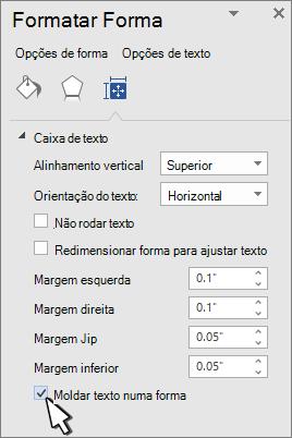 Painel Formatar forma com moldar texto selecionado