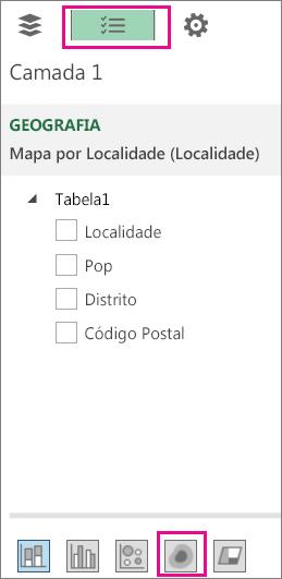 Ícone de Mapa Térmico no separador Lista de Campos