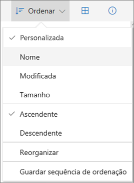 Captura de ecrã do menu Ordenar no OneDrive