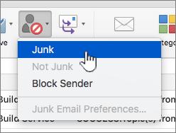 Marcar a mensagem como item de menu correio publicitário não solicitado