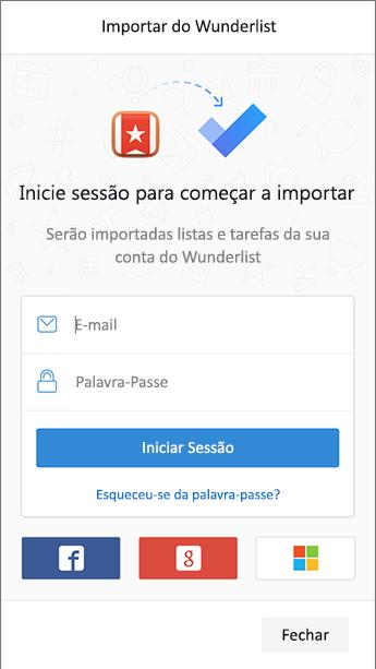 Captura de ecrã do to-do com o ecrã de início de sessão para o Wunderlist aberto no importador.