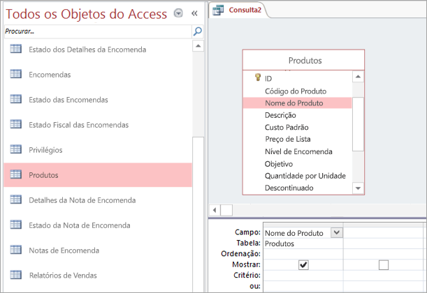 Captura de ecrã da vista Todos os Objetos do Access