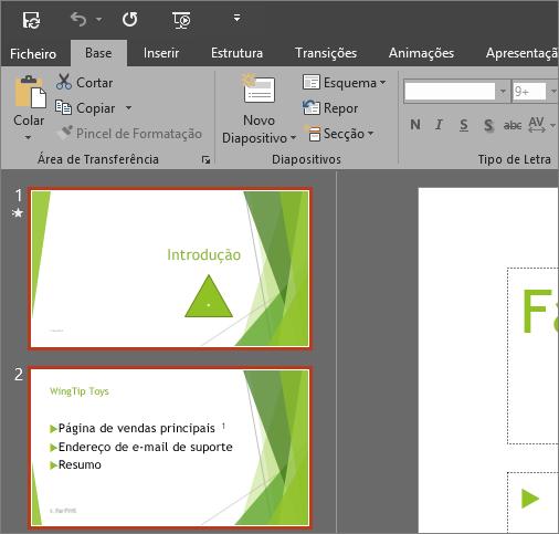 Mostra o PowerPoint 2016 com o tema Cinzento Escuro aplicado