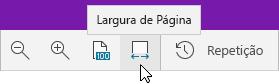 Mostra as opções de zoom com a opção Largura da Página selecionada