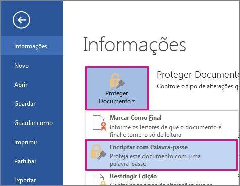 Proteger um documento com palavra-passe
