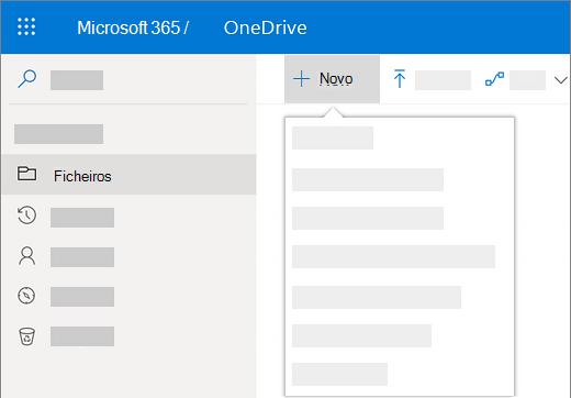 Captura de ecrã da seleção do menu Novo para criar um novo documento no OneDrive para Empresas