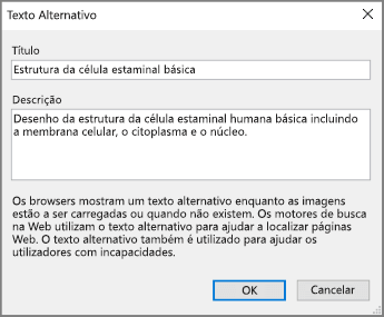 Captura de ecrã a mostrar a caixa de diálogo Texto Alternativo no OneNote com textos de exemplo nos campos Título e Descrição.
