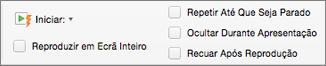 Opções de áudio à direita do separador Formatação de Áudio