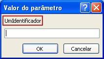"""Mostra um exemplo de uma caixa de diálogo valor do parâmetro inesperado, com uma cor de rosa contorno à volta da etiqueta do identificador """"SomeIdentifier"""", um campo no qual pretende introduzir um valor e botões OK e cancelar."""