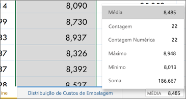 Folha de cálculo com funções comuns disponíveis no canto inferior direito