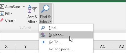 Separador Base > Localizar e Selecionar > Substituir