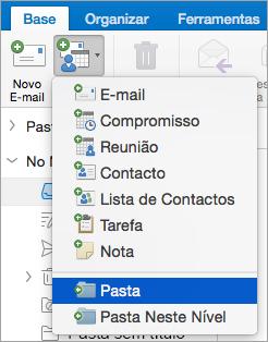 Mostra o selecionar a pasta a partir da lista de novos itens.