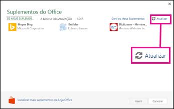 Botão Atualizar Suplementos do Office