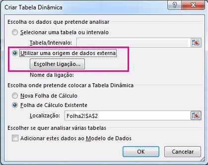 Caixa de diálogo Criar Tabela Dinâmica com a origem de dados externa e utilização selecionada