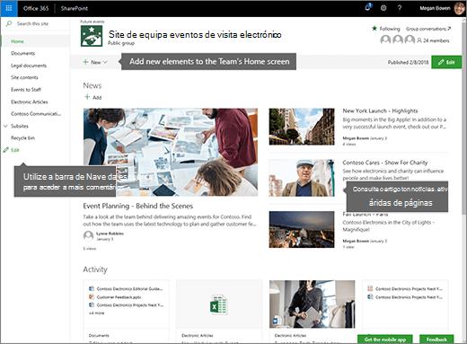 Home page do site de equipa do SharePoint Online