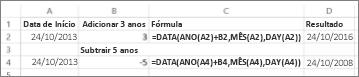 Exemplos de somar e subtrair datas