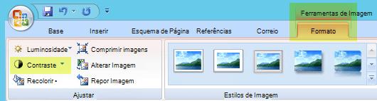 No separador Formatar das ferramentas de imagem, no grupo ajustar, selecione contraste