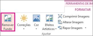 Botão Remover Fundo no grupo Ajustar, no separador Formatar das Ferramentas de Imagem