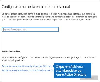Clique em Adicionar este dispositivo ao Azure Active Directory