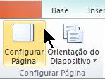 No separador Estrutura do Friso, selecione Configurar Página.