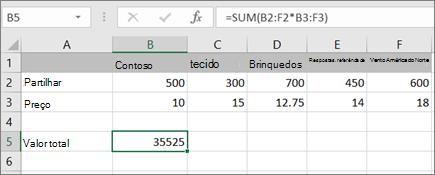 Um exemplo de uma fórmula de matriz a calcular um único resultado