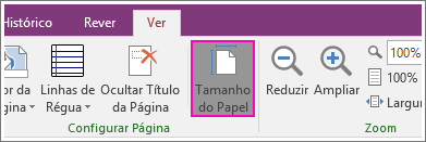 Captura de ecrã do botão Tamanho do Papel no OneNote 2016.