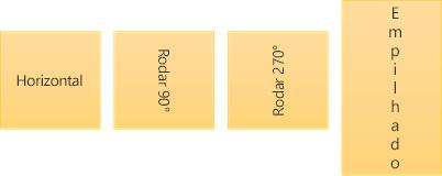 Exemplos de orientação do texto: horizontal, rodado e empilhado