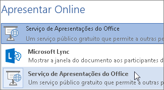 Apresentar Online através do Serviço de Apresentações do Office