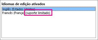 Editar idioma com suporte limitado