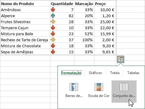 Utilizar a funcionalidade Análise Rápida para destacar dados