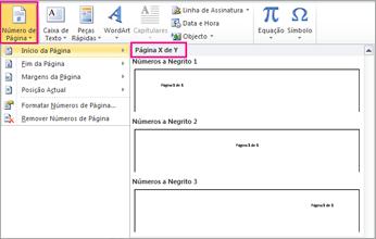 Selecione um formato de página X de Y
