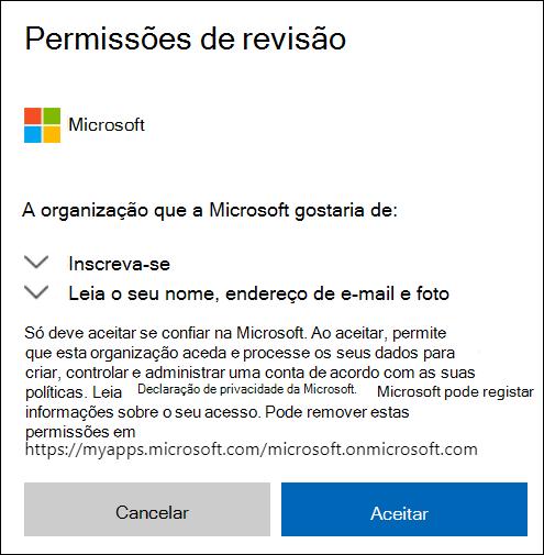 Janela de permissão de partilha externa OneDrive.