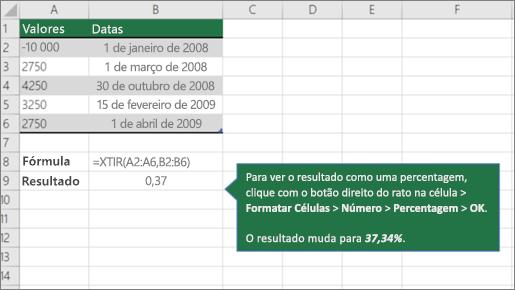 Um exemplo da função XTIR