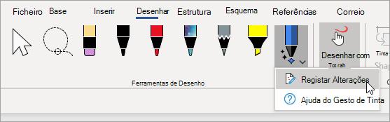 Selecione alterações de faixa para a caneta Do Editor de Tinta.