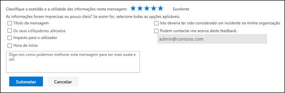 Formulário de feedback para problemas de estado de funcionamento do serviço