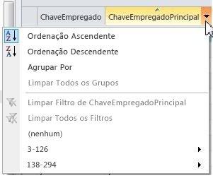 Opções para ordenar, agrupar e filtrar itens em listas externas