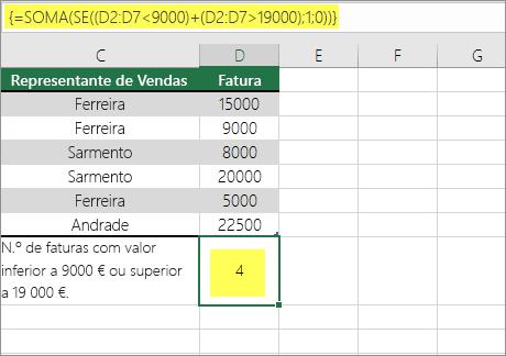 Exemplo 2: Funções SOMA e SE aninhadas numa fórmula